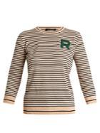 Rochas Striped Crew-neck Logo Knit Sweater