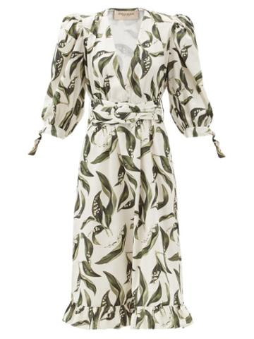 Matchesfashion.com Adriana Degreas - Floral-print Plunge-neck Cotton Midi Dress - Womens - Cream Print