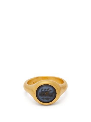 Matchesfashion.com Eli Halili - Ancient Pyu Agate 22kt Gold Signet Ring - Womens - Gold