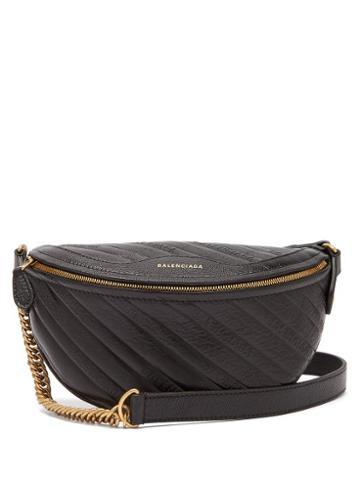 Matchesfashion.com Balenciaga - Souvenirs Xxs Logo Debossed Leather Belt Bag - Womens - Black