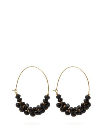 Matchesfashion.com Isabel Marant - Crystal Embellished Hoop Earrings - Womens - Black