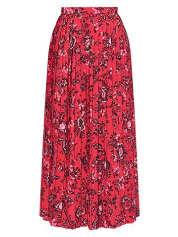 Matchesfashion.com Erdem - Nolana Pleated Floral-print Crepe Skirt - Womens - Red Print