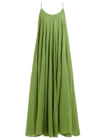 Matchesfashion.com Three Graces London - Mabelle Trapeze Maxi Dress - Womens - Green