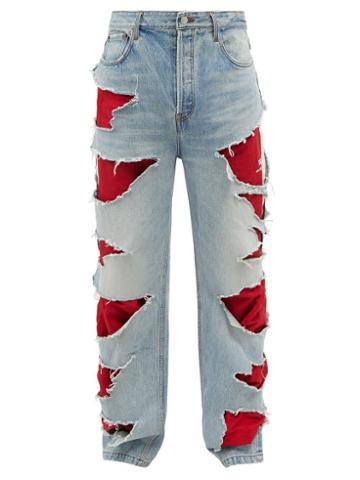 Balenciaga - Hybrid Distressed Wide-leg Jeans - Mens - Blue Multi