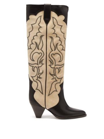 Isabel Marant - Liela Embroidered Leather Cowboy Boots - Womens - Beige Multi
