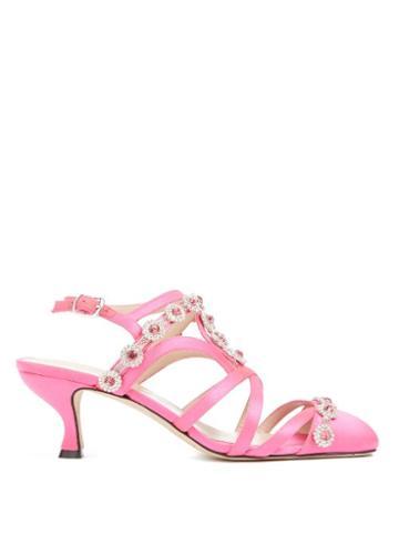 Matchesfashion.com Christopher Kane - Multi-strap Crystal-embellished Satin Pumps - Womens - Pink