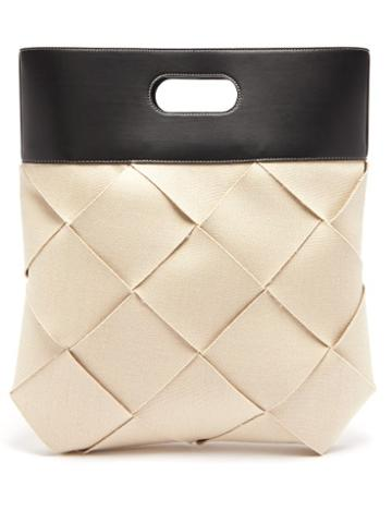 Matchesfashion.com Bottega Veneta - Intrecciato Canvas Tote Bag - Mens - Black White