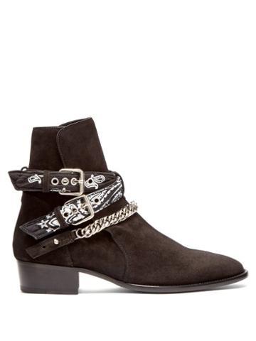Matchesfashion.com Amiri - Bandana Strap Suede Boots - Mens - Black