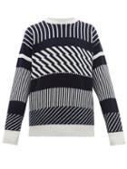 Matchesfashion.com E. Tautz - Jacquard Striped Wool Sweater - Mens - Navy Multi