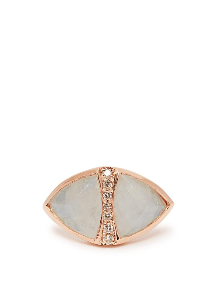 Jacquie Aiche Diamond, Moonstone & Rose-gold Ring