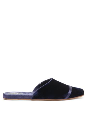Malone Souliers - Rene Velvet And Satin Backless Slippers - Womens - Navy