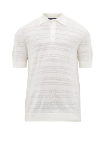 Matchesfashion.com Frescobol Carioca - Perforated Lace Knitted Merino Wool Polo Shirt - Mens - White
