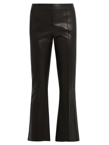 The Row Becca Kick-flare Leather Trousers