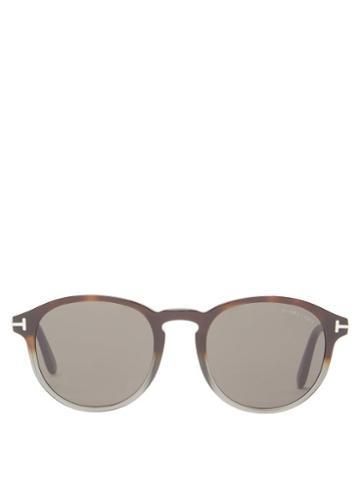 Matchesfashion.com Tom Ford Eyewear - Round Acetate Sunglasses - Mens - Brown