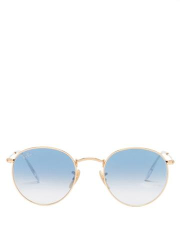 Ray-ban - Round Metal Sunglasses - Womens - Light Blue