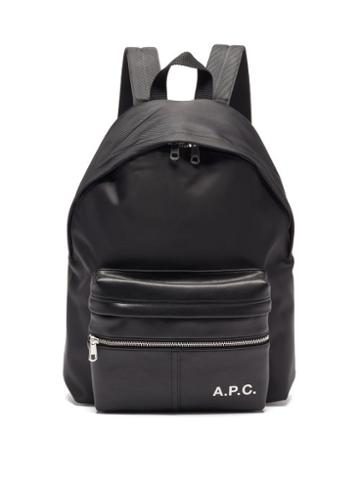 Matchesfashion.com A.p.c. - Camden Faux-leather And Canvas Backpack - Mens - Black