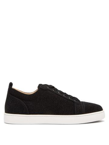 Matchesfashion.com Christian Louboutin - Louis Junior Glittered Leather Trainers - Mens - Black