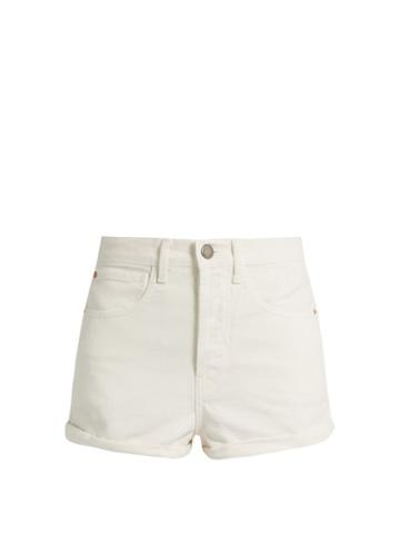 Matchesfashion.com Raey - Low Cut Off Denim Shorts - Womens - White