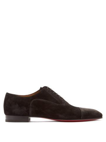 Matchesfashion.com Christian Louboutin - Greggo Suede Derby Shoes - Mens - Black