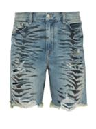 Matchesfashion.com Amiri - Thrasher Distressed Tiger Print Denim Shorts - Mens - Indigo