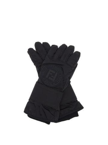 Matchesfashion.com Fendi - Ff-logo Leather-panelled Ski Gloves - Womens - Black