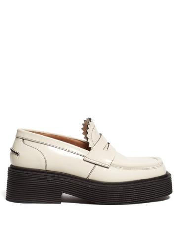 Matchesfashion.com Marni - Ribbed Midsole Leather Loafers - Womens - Cream