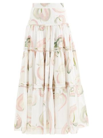 Matchesfashion.com Aje - Imprint Floral-print Cotton-poplin Maxi Skirt - Womens - White Print