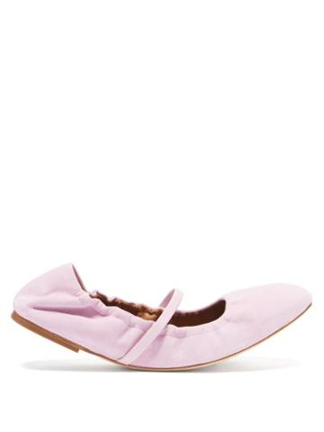 Malone Souliers - Cher Suede Ballet Flats - Womens - Light Pink