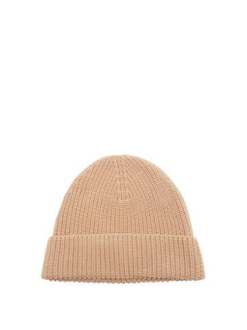 Matchesfashion.com Ami - Ribbed Cotton Beanie Hat - Mens - Beige