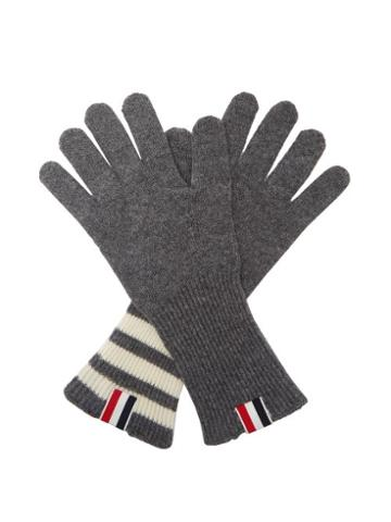 Matchesfashion.com Thom Browne - Tricolor Striped-cuff Gloves - Mens - Grey