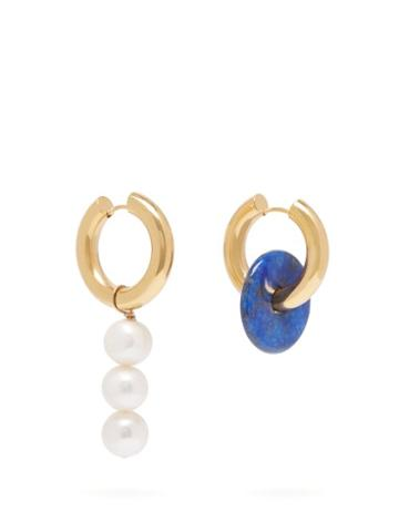 Matchesfashion.com Timeless Pearly - Mismatched Pearl & Disc Earrings - Womens - Blue