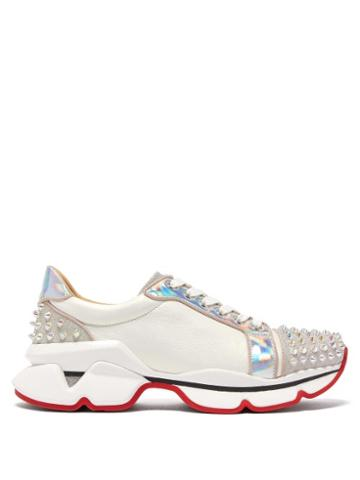 Matchesfashion.com Christian Louboutin - Vrs 2018 Studded Lam Trainers - Womens - White Silver