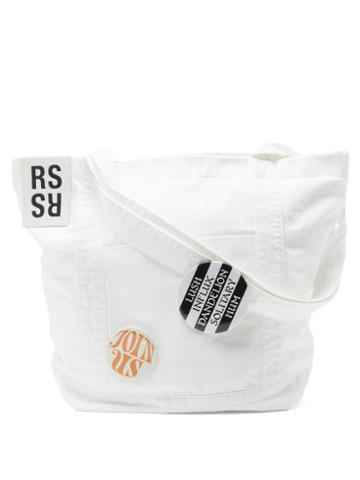 Matchesfashion.com Raf Simons - Pin-embellished Denim Tote Bag - Mens - White