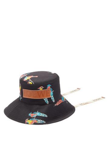 Matchesfashion.com Loewe Paula's Ibiza - Logo-patch Parrot-print Bucket Hat - Womens - Black Multi