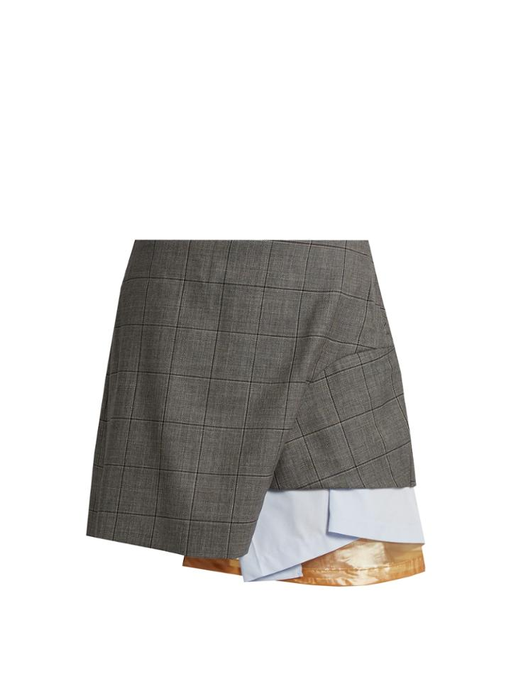 Toga Layered Checked Wool Mini Skirt