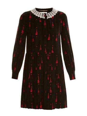 Saint Laurent Schoolgirl Guitar-embroidered Dress