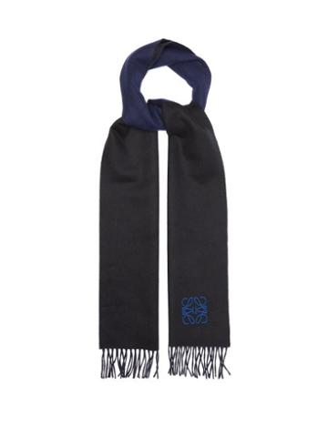 Loewe - Anagram-embroidered Wool-blend Scarf - Mens - Black Blue