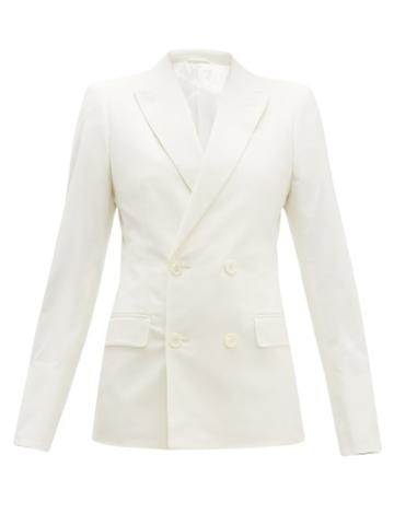 Matchesfashion.com Connolly - Double Breasted Cotton Blend Blazer - Womens - Cream