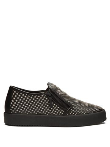 Giuseppe Zanotti Adam Stud-embellished Leather Slip-on Trainers