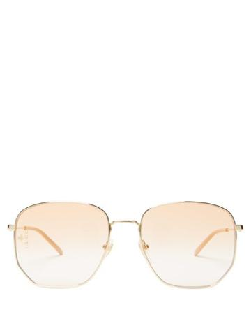 Matchesfashion.com Gucci - Square Metal Glasses - Mens - Gold