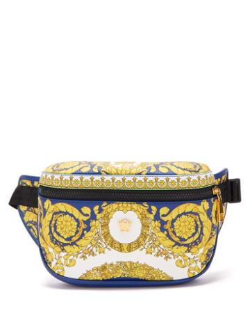 Matchesfashion.com Versace - Barocco Print Leather Belt Bag - Mens - Blue Multi