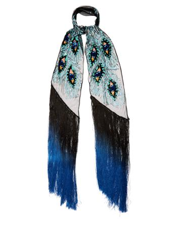 Rockins Peacock-feather Sequin-embellished Scarf