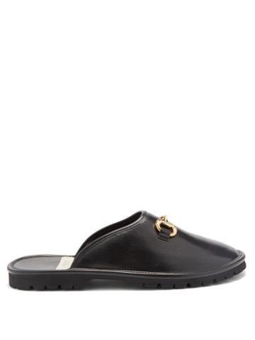 Gucci - Elea Horsebit Leather Backless Loafers - Mens - Black
