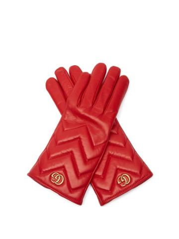 Matchesfashion.com Gucci - Gg Marmont Chevron-quilted Leather Gloves - Womens - Red
