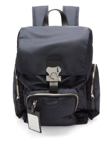 Fpm Milano - Butterfly Medium Leather-trim Nylon Backpack - Mens - Blue