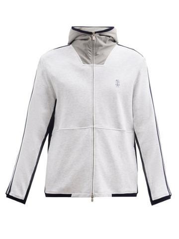 Matchesfashion.com Brunello Cucinelli - Hooded Zip-through Cotton-blend Track Jacket - Mens - Grey