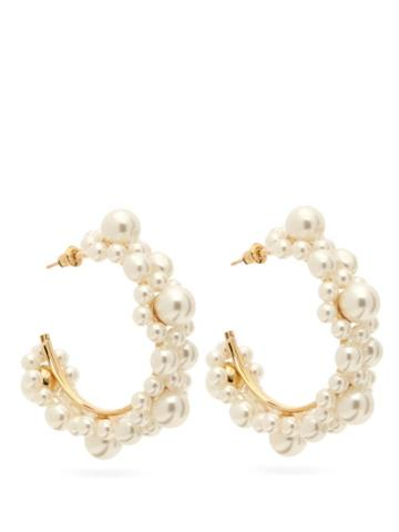 Matchesfashion.com Simone Rocha - Small Pearl Daisy Hoop Earrings - Womens - Pearl