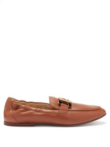 Tod's - Chain-embellished Leather Loafers - Womens - Brown
