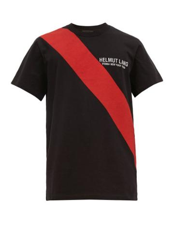 Matchesfashion.com Helmut Lang - Sash Print Logo Embroidered Cotton T Shirt - Mens - Black Multi