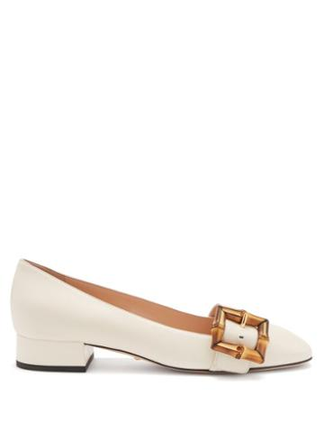 Gucci - Bamboo-buckle Leather Flats - Womens - White